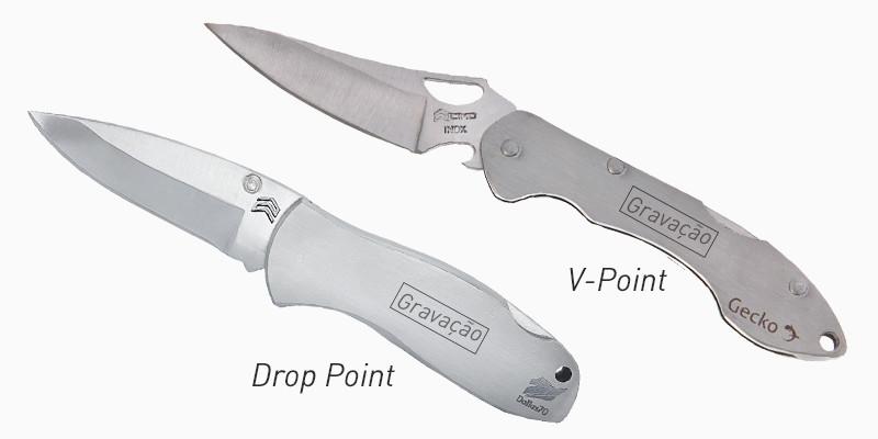 tipos de lâmina dro point e v point - dois canivetes cimo
