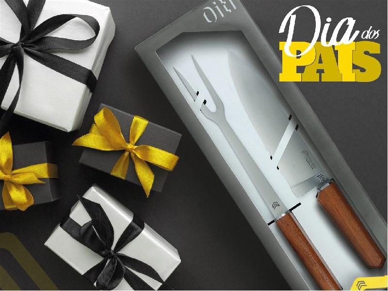 Imagem de uma caixa de presente com uma faca e um garfo de churrasco