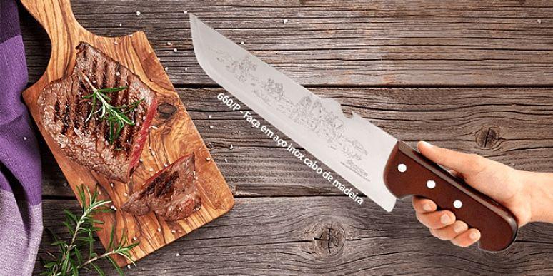 faca para churrasco com tabua de carne assada